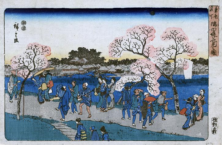 Hiroshige: vista dei fiori di ciliegio sul fiume Sumide