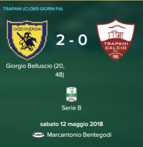 Serie B: Chievo-Trapani potrebbe decidere la Serie B