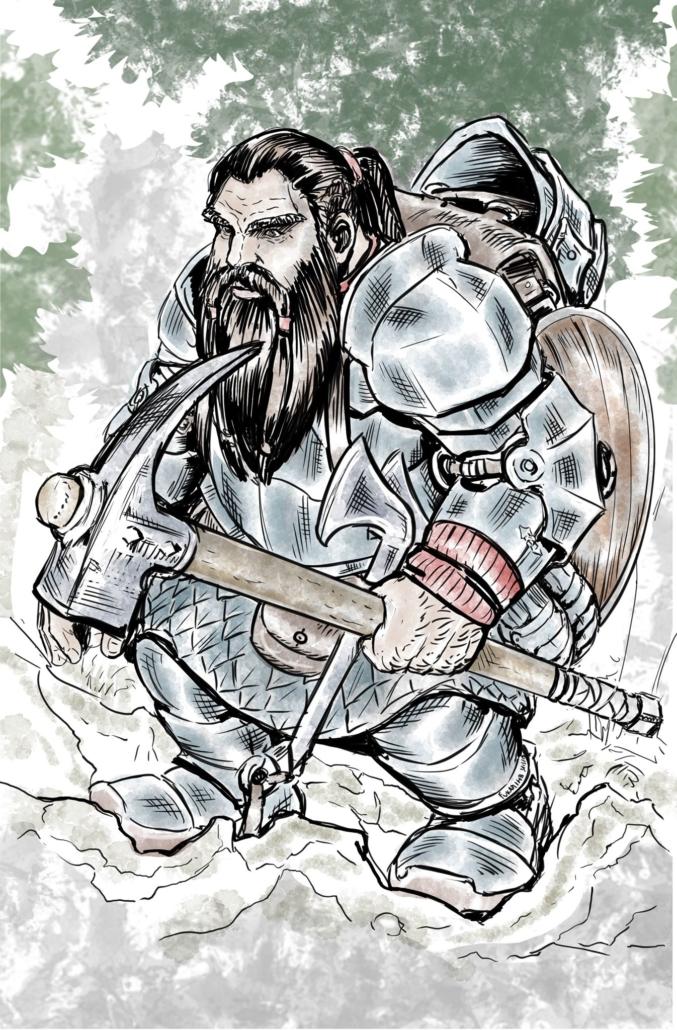 Un nano guerriero sta per iniziare il suo viaggio. Disegno di Fukami HB ( https://www.facebook.com/FukamiHB/ )