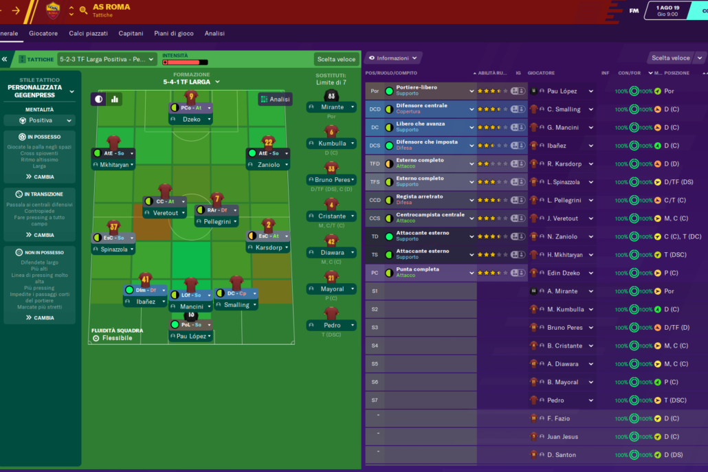 formazione as roma football manager 2021 simone clerici 2